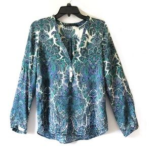 Zara Blue Paisley Floral Long Sleeve Blouse Top
